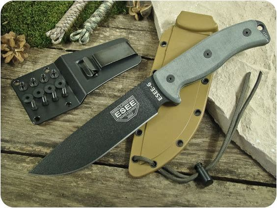 ESEE 6P Black Fixed Blade Knife with Desert Brown Molded Polymer Sheath
